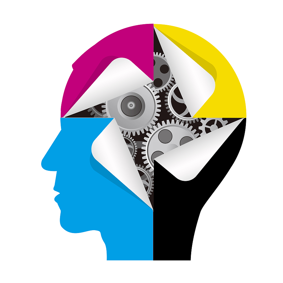 Faceless side profile imagined as CMYK colour blocks exposing the grinding gears of thinking beneath the colors