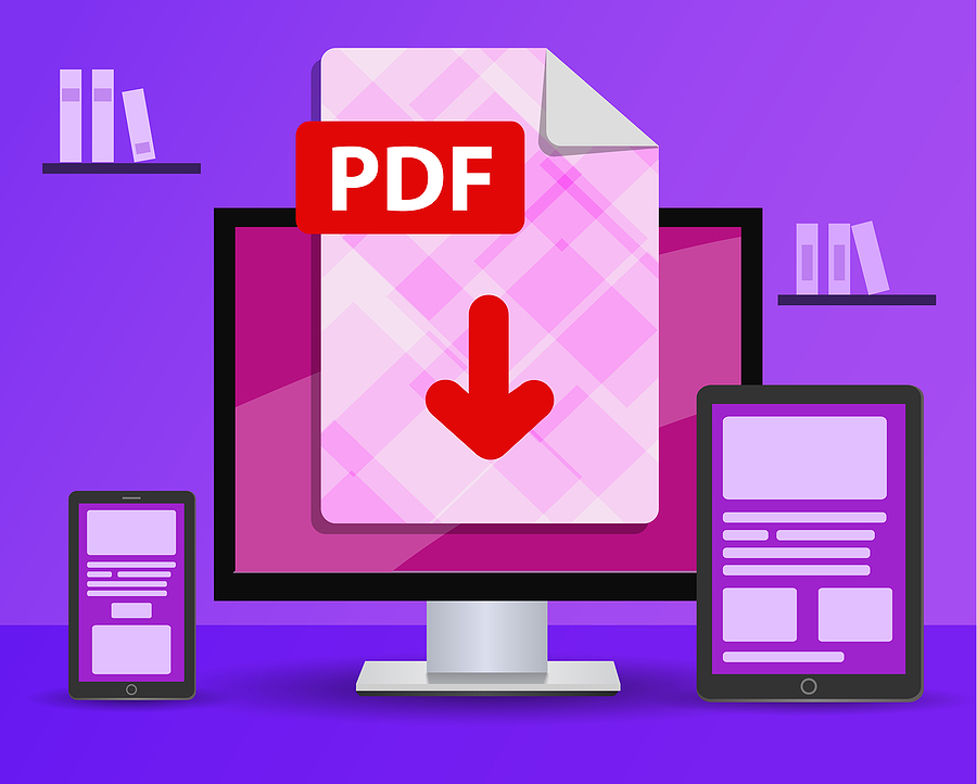 PDF document being downloaded on smart devices and desktop.